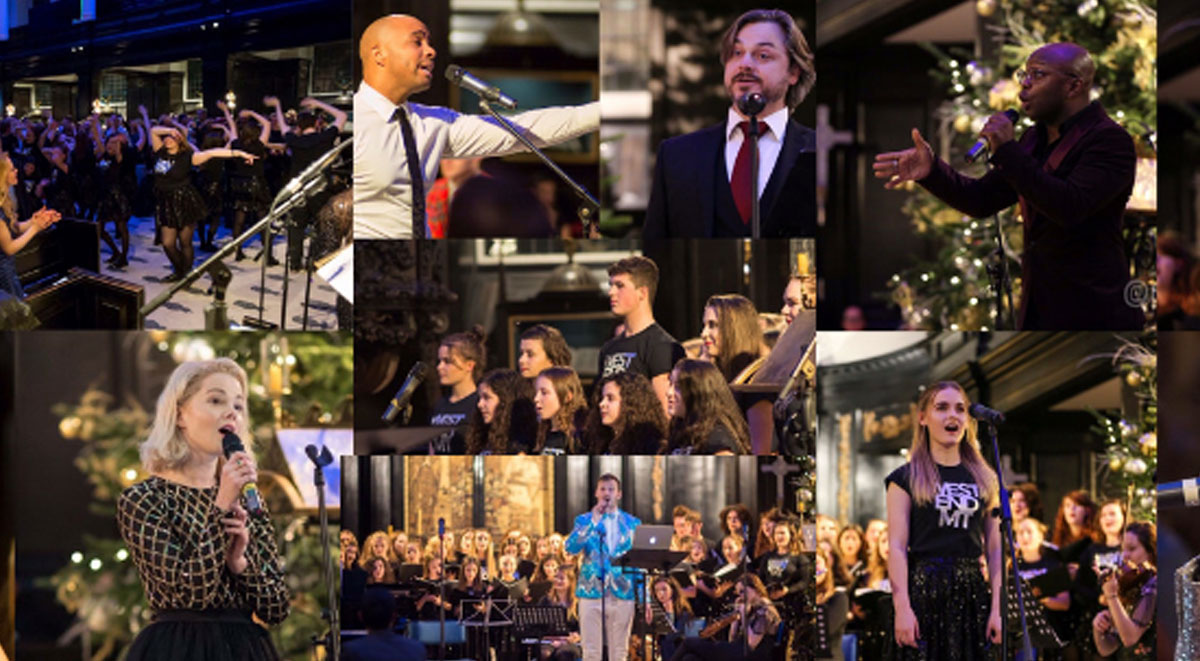 Photos of the performers from West End Sings at Christmas